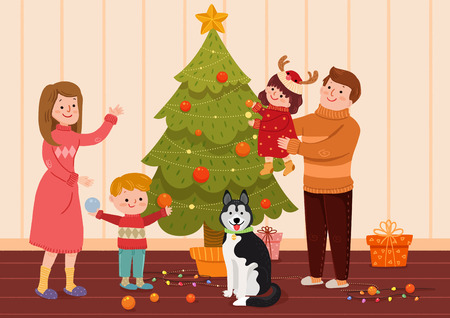 Vector illustration of happy family together in winter time.
