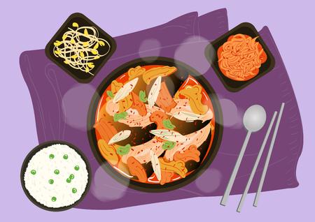 Illustration de la nourriture, collection de plats vectoriels plats de cuisine coréenne