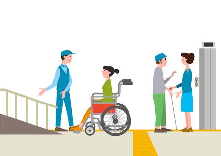 Social welfare, illustration for welfare for the handicapped.
