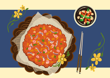 Food illustration, Korean cuisine flat vector collection of dishes