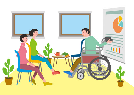 Social welfare, illustration for welfare for the handicapped.