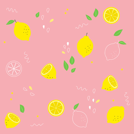 Cute seamless vector pattern with lemon.