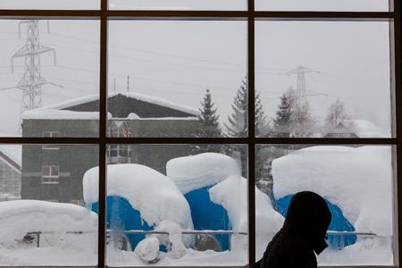 Swiss Cold snow Winter Streetscape Banco de Imagens