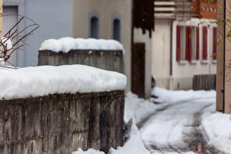 Swiss Cold snow Winter Streetscape Stock Photo