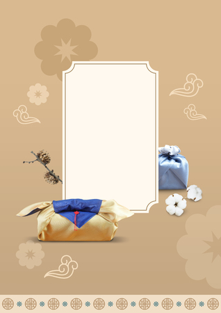 New year greeting card and banner design with Korean traditional gift box background 01