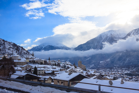 the cold winter snow of Switzerland