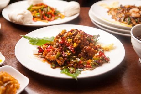 Kkanpunggi, Spicy garlic fried chicken with chili and sweet corn