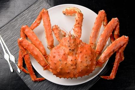 steamed huge king crab on plate