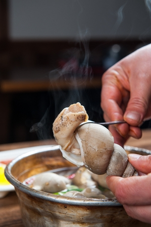 removing whelk from shell, whelk soup
