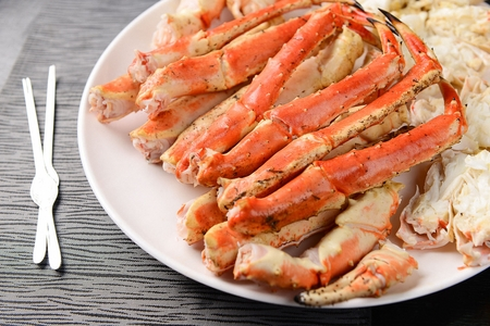 steamed legs of king crab Stock Photo