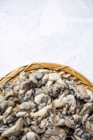 Close up of  food ingredients Isolated on   - salsify, oyster, mussel, shrimp and clam Фото со стока