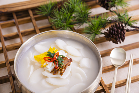 Korean new year's food Tteokguk, rice-cake soup Stock Photo