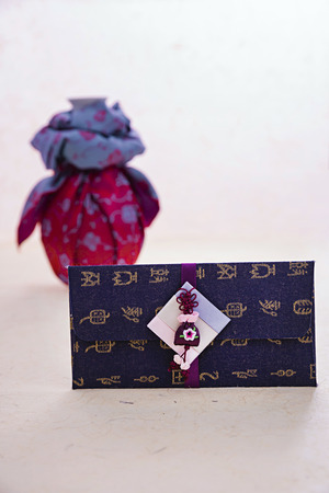 Korean traditional wrapping cloth, refreshments and greeting card