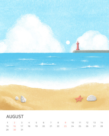 calendar design. Four seasons painting of beautiful natural landscape vector illustration