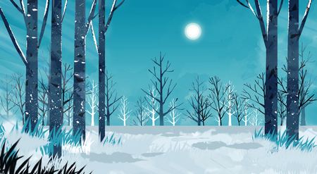 Beautiful winter landscape painting illustration Imagens