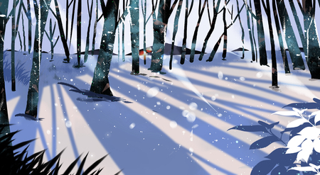 Beautiful winter landscape painting illustration Banco de Imagens