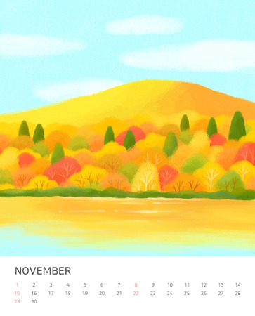Hand drawn year calendar design. Four seasons painting of beautiful natural landscape vector illustration Banco de Imagens