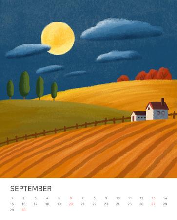 Hand drawn year calendar design. Four seasons painting of beautiful natural landscape vector illustration 写真素材