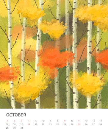 Hand drawn year calendar design. Four seasons painting of beautiful natural landscape vector illustration Standard-Bild