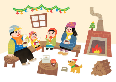 Happy family having a good time in winter. Family enjoy their holiday vector illustration