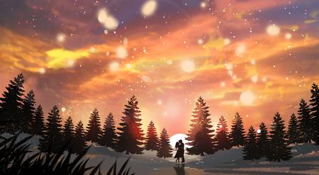 Beautiful winter landscape painting illustration 版權商用圖片