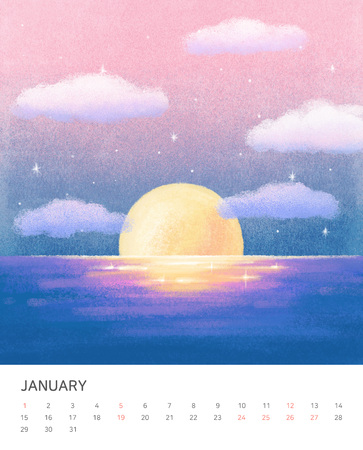 Hand drawn year calendar design. Four seasons painting of beautiful natural landscape vector illustration Stock Photo