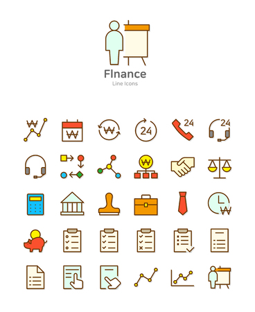 Set of line modern color icons for mobile and web design vector illustration  イラスト・ベクター素材