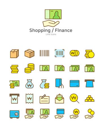 Set of line modern color icons for mobile and web design vector illustration Illustration