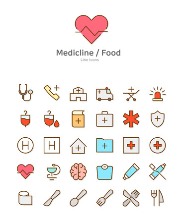 Set of line modern color icons for mobile and web design vector illustration Иллюстрация