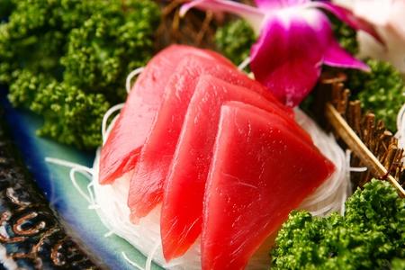 close-up shot of tuna sashimi platter