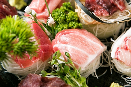 close-up shot of tuna sashimi platter