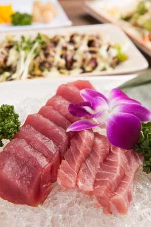 tuna sashimi on plate