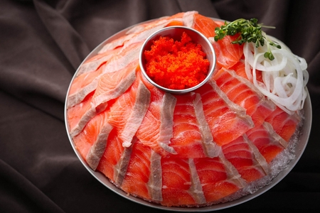 salmon sashimi and flying fish roe