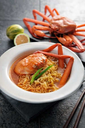 Korean noodle soup, Ramyeon with red snow crab