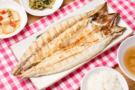 grilled mackerel, side dish and rice bowl