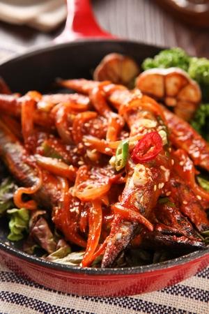Spicy seasoned billfish on plate