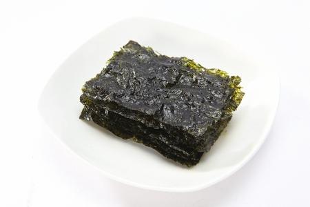 dried seaweed, white background