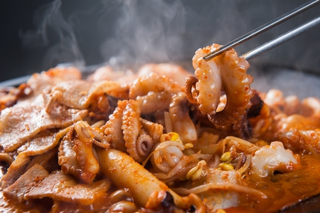 small octopus from braised spicy assorted seafood with beef brisket Stok Fotoğraf