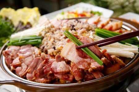 smoked duck, mushrrom, chives and nutritious rice