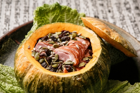 steamed sweet pumpkin with smoked duck meat Reklamní fotografie