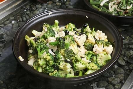 Broccoli on china platter