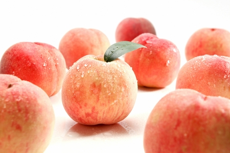 fresh peaches with drops, white background