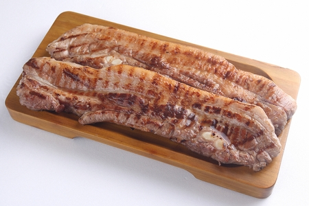 lightly grilled Samgyeopsal, pork chelly on wood plate, white background