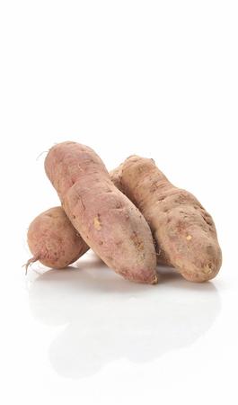four sweet potato, white background