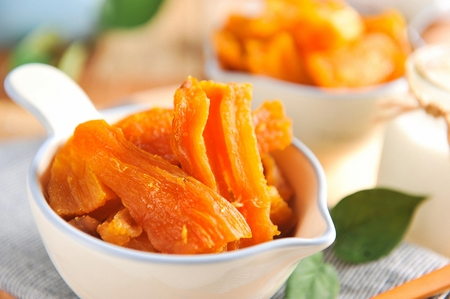 dried sweet potatoes on white porcelain bowl