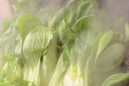 bok choy in stainless box, buffet background