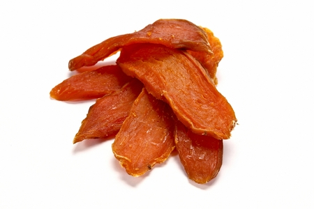 dried sweet potatoes, white background