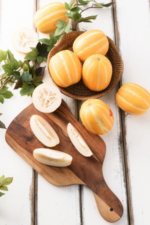 sliced and whole oriental melons