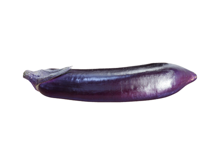 fresh whole and sliced eggplant isolated on white background