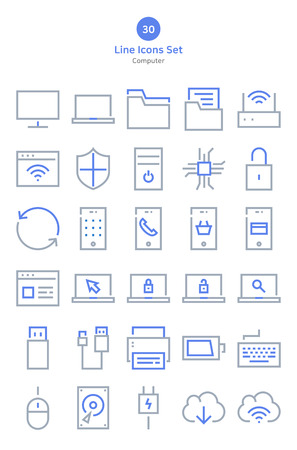 Computer outline style icons set. Stock Illustratie